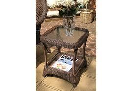 veranda resin wicker end table with