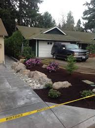 river rocks entry garden. Driveway-curb-appeal-dry-creek-bed-bark-dust- River Rocks Entry Garden