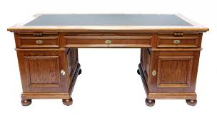 vintage free standing oak wood desk