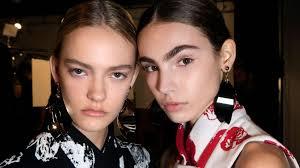 beauty two models eyebrows natural make up proenza schouler jpg