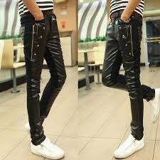2018 new fashion mens tight leather pants mens trousers nightclubs tide male personality was thin stitching