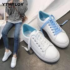 New Spring Tenis Feminino Lace up White Shoes <b>Woman Pu</b> ...