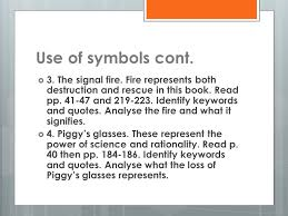 lord of the flies literary analysis ppt  use of symbols cont