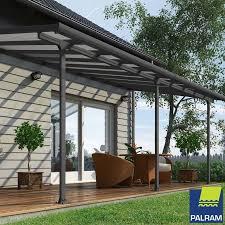 palram feria 3 veranda patio cover in grey 3 x 6 10m