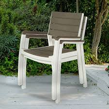 trendy outdoor furniture. Keter Harmony Indoor/Outdoor Stackable Patio Furniture Armchair Set Modern Wood Style Finish, (Pack Of 2 Chairs) Trendy Outdoor D
