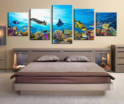 Bedroom Canvas Art Lovely 5 Piece Group Canvas Fish Multi Panel Art Turtle  Wall Decor Fish