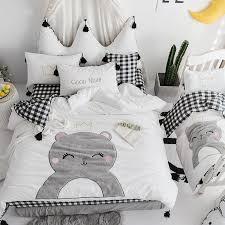 100 cotton cute cartoon white black bedding set girls queen king size bed fit sheet set bed set duvet cover pillowcase fl duvet cover purple duvet from