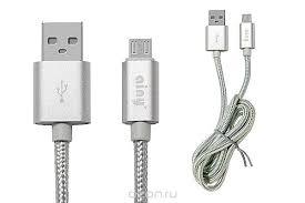 Кабель <b>Ainy</b> USB, micro USB тканевый, 1 м, FA-064Q, серебряный