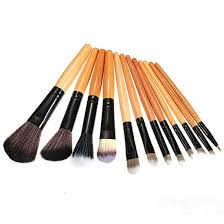 leopard cosmetic makeup powder brush set with leather case 12pcs