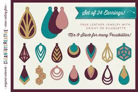 set of 24 faux leather earrings svg dxf eps png craft file example image 1