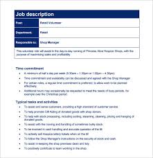 Customer Service Job Description Retail 13 Customer Service Job Description Templates Free
