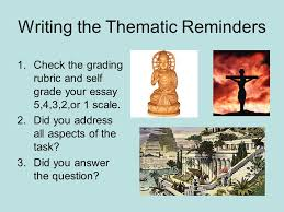 "how to guide for thematic essays"" ppt  18 writing the thematic reminders check the grading rubric and self grade your essay"