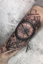 Tattoo Uploaded By Madman Compass Map Anchor Black Gray