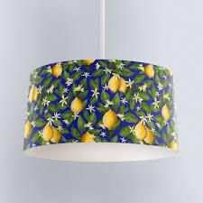 Lemon Print In Cobalt Blue Drum Lampshade Handmade In The Uk