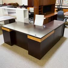 Used OFS Left LShaped Executive Office Desk Walnut Maple Burl Beauteous Ofs Office Furniture Property