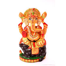 hand made indian wooden lord ganesha statue