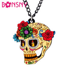 Bonsny Acrylic Halloween <b>Floral Skull</b> Skeleton Necklace Pendant ...