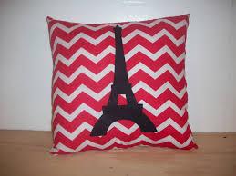 Eiffel Tower Pillow, Paris Pillow, Girls Bed Pillow, Red Paris Pillow,  12x20 Inch, Girls Bedroom Decor