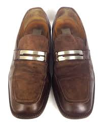 mezlan shoes 10 mens brown leather loafers auction for item 1473809