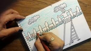 how to draw garden scene for kids
