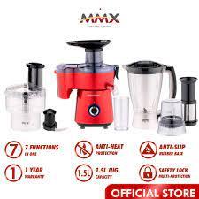 MMX Kelen Munoz 7-in-1 Food & Juice Processor 1.5L Blender Grinder  Red/Green KM Cook Easy