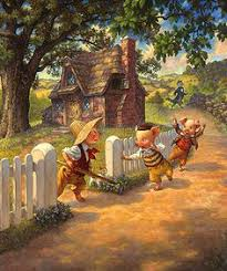 scott gustafson three little pigs open edition canvas from the greenwich work fine art gallery featuring fine art prints canvases books