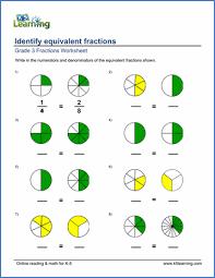 Fraction Pie Chart Grade 3 Fractions Decimals Worksheet Identifying