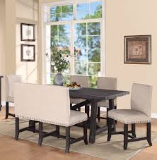 dining room settee black paint color base furniture ideas rustic counter height farm table white paint