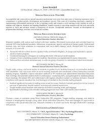 Objective For Teacher Resume Sample Special Education Cover Letter
