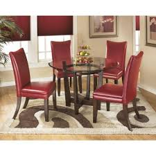 ashley furniture charrell round dining table set with red chairs