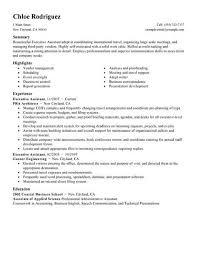 Executive Assistant Resume Summary 2381