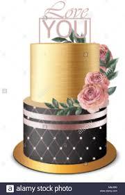 Luxury Gold Cake Vector Realistic Birthday Anniversary Wedding