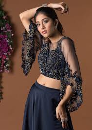 Skirt N Top Designs Navy Blue Crop Top With Bell Sleeves And Flared Skirt Online Kalki Fashion