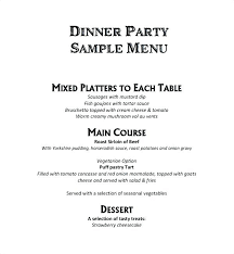 Sample Dinner Menu Template Event Free Documents In Word Party Tea ...