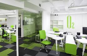 green ideas for the office. Fresh Look In The Green Office Interior Design Added With Houseplant Decoration : Astounding Ideas For