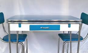 1950s blue white chrome kitchen table and 3 matching chair