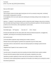 Career Objective For Real Estate Resume Sample Real Estate Agent Resume 6 Examples In Word Pdf