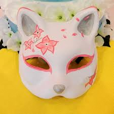 japanese for mask half face hand painted japanese fox mask pink flower pattern kitsune