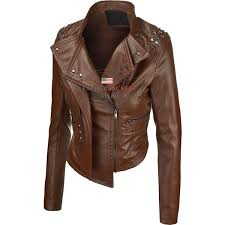 brown rider faux leather jacket for women