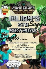 Minecraft Birthday Invitation Ideas Minecraft Birthday