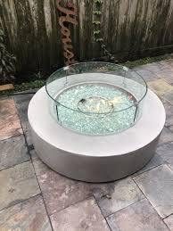 42 round modern concrete gas fire pit table in gray
