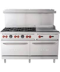 Commercial gas range Griddle Double Oven 60 Inch Gas Range Standard Ovens Burners And 24 Inch Griddle Top Vulcan Equipment 60 Inch Commercial Gas Range Burners 24 Inch Griddle Top And