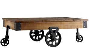 Industrial Coffee Table Cart Industrial Coffee Table Cart Design Rustic Wood Style Solid