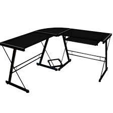 walker edison black glass corner computer desk