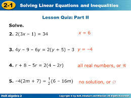lesson quiz part ii solve 2 2 3x 1