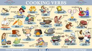 verb list english study page cooking verbs visual expression