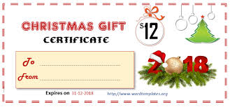 Printable Gift Certificate Templates For 2018 15 Free Ms
