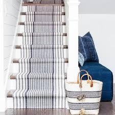 white and indigo blue stripe jute staircase runner