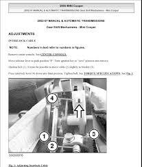 mini cooper complete service manual link north gear shift adjustment