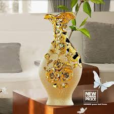 high quality jingdezhen ceramic gold plating vase for home decor